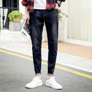 太子龙 TEDELON 牛仔裤男士2018新款修身纯色潮流小脚裤子男装N1 黑色 34