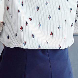 朗悦女装 长袖衬衫女2019春季新款气质衬衣印花雪纺衫学生打底衫 LWCC187445 白色 M