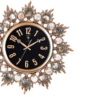 北极星(POLARIS)挂钟时尚客厅静音创意挂钟个性高档天然黑蝶珍珠贝壳豪华玫瑰金装饰挂钟 121A