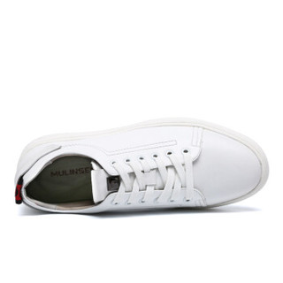 MULINSEN 木林森 简约韩版时尚纯白色系带牛皮百搭休闲板鞋子  白色 39码 SL87316