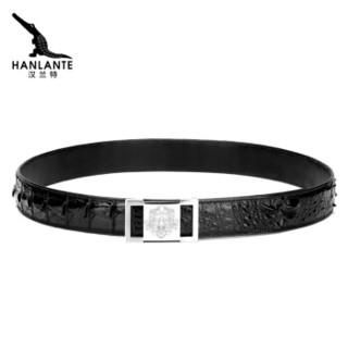 汉兰特(HANLANTE)鳄鱼皮皮带男工字中年男士不锈钢雄狮平滑扣商务裤腰带 HG1607255