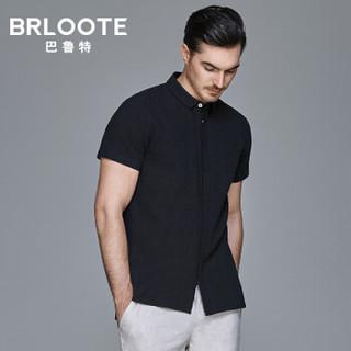 Brloote/巴鲁特 棉麻短袖衬衫男夏季修身暗门襟时尚休闲衬衣 藏青 180/100A