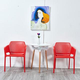 佳匠 椅子北欧镂空靠背扶手餐椅 门店可叠放餐桌椅子 红色