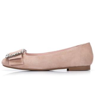 CAMEL 骆驼 休闲系列 女鞋 时尚吸睛耀眼扣饰平底单鞋 A81025616 杏色 36