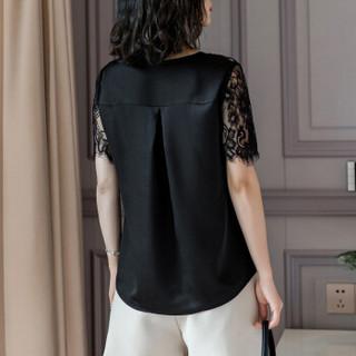 欧偲麦 蕾丝短袖上衣女夏季V领雪纺衫女士镂空小衫印花修身显瘦打底韩版 ZY29020 黑色 XL