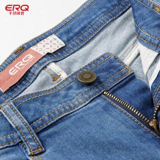 ERQ小直筒牛仔裤女2019春夏新款中腰休闲牛仔裤修身牛仔长裤女 薄 浅蓝 30