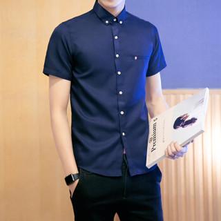 鳄鱼恤(CROCODILE)衬衫 男士时尚休闲纯色短袖衬衫男 CS01 藏青 XL