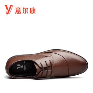 意尔康男士时尚经典商务耐磨系带单鞋子男 8541AE76822W 棕色 42