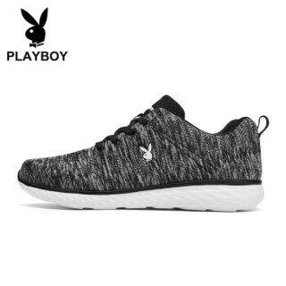 PLAYBOY 花花公子 休闲 时尚防滑飞织旅游运动跑步鞋 DS81006 灰色 39