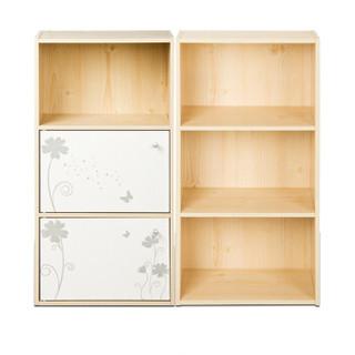 慧乐家 三层书柜组合套装 书柜 储物柜 置物架 白枫木色 白色 FNAL-11181-1