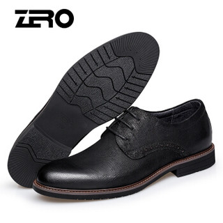 零度(ZERO)男英伦商务正装时尚系带舒适柔软休闲皮鞋 B83330 黑色 39偏大一码