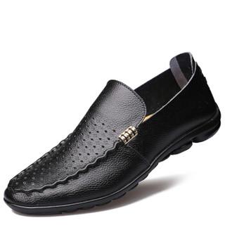 大红鹰(DAHONGYING)皮鞋男士二层牛皮时尚休闲商务套脚休闲一脚蹬DHY1699 黑色 42