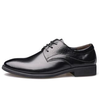 Dahongying 大红鹰 皮鞋男青年商务休闲正装时尚拼接系带尖头花纹 DHY9901 黑色 42