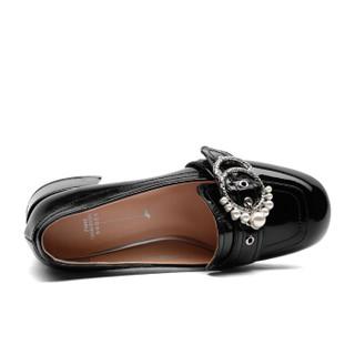 fmm 花晨月 漆皮珍珠皮带扣粗跟深口单鞋女 HCY18CD9089 黑色33