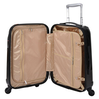 HANKE 汉客 20英寸拉杆箱炫彩旅行箱万向轮硬箱PC材质男女行李箱登机箱子配海关密码锁  H80001 黑色镜面
