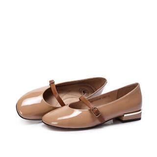 CAMEL 骆驼 女士 舒适优雅一字搭扣方跟单鞋 A83900600 杏色 36