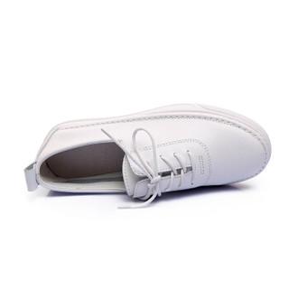 fmm 花晨月 牛皮圆头系带休闲小白鞋女 MMS17XX7549 白色36