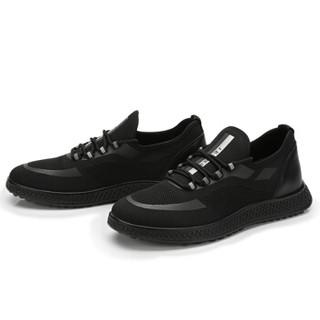 CAMEL 骆驼 男鞋运动休闲韩版系带飞织透气 W832237080 黑色 42/260码