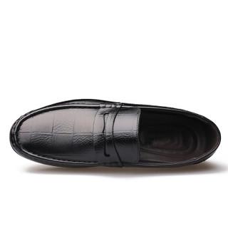 大红鹰(DAHONGYING)皮鞋男士头层牛皮豆豆鞋商务套脚休闲一脚蹬DHY8081 黑色 41