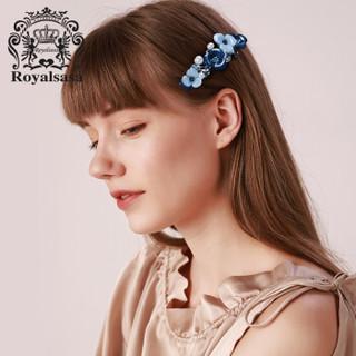 皇家莎莎(Royalsasa)发饰顶夹发夹一字夹盘发卡横夹头饰弹簧夹马尾夹 素雅蓝色BE
