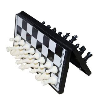 盛玉 国际象棋黑白色磁性可折叠便携成人儿童学生培训教学用棋 小号
