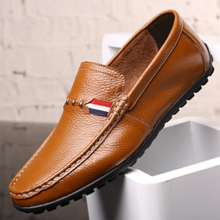 大红鹰(DAHONGYING)皮鞋男士头层牛皮时尚休闲商务套脚休闲一脚蹬DHY8027 黄色 42