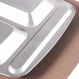 欧橡 OAK 不锈钢餐盘饭盒分格快餐盘学生餐盒盘子 四格大号加厚便当盒 OX-C243