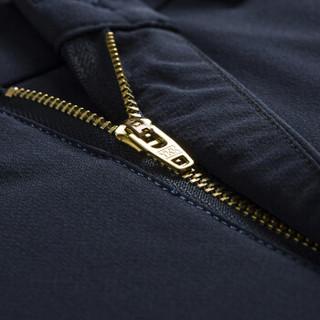 才子(TRIES)休闲裤男 商务修身纯色弹力中腰直筒男士休闲长裤 5185E5020 深蓝色 76(170/74A)
