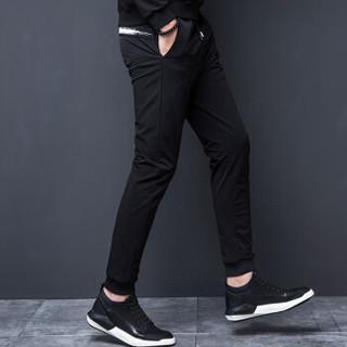 花花公子PLAYBOY 休闲裤男2018新款潮流时尚修身小脚裤弹力束脚哈伦裤 黑色(702) 4XL