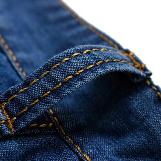 南极人(Nanjiren)牛仔裤男时尚简约男士中腰五分裤休闲牛仔短裤  NJR856 中蓝色 28码