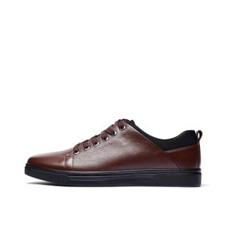 Fuguiniao 富贵鸟 时尚休闲皮鞋拼接系带头层牛皮男子 A803860 棕色 39