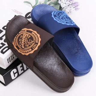 回力 时尚简约男拖鞋 居家浴室防滑耐磨户外休闲凉拖一字拖 HL3570-9 棕 40