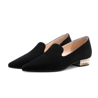 fmm 花晨月 羊猄珍珠低跟气质浅口单鞋女 HCY18CD3687BK 黑色34