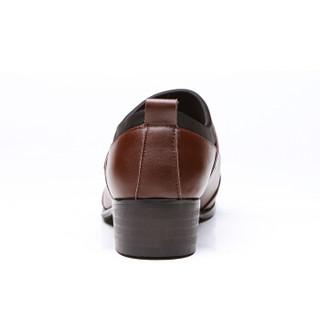 大红鹰(DAHONGYING)皮鞋男青年商务休闲正装套脚尖头时尚百搭四季款DHY288 棕色 38
