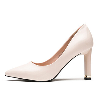 huanai 华耐 性感尖头浅口粗高跟通勤职业单鞋女A18111826 米白 35