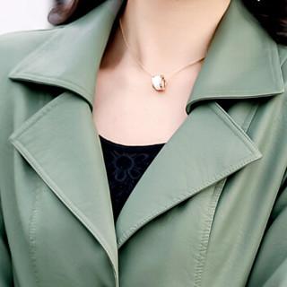 欧偲麦 女皮衣中长款PU皮衣女装皮衣外套女士皮风衣春秋季韩版修身 OMS-020SKA 浅绿色 3XL