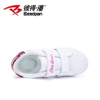 彼得潘童鞋 儿童运动鞋女童板鞋公主鞋P8036 白梅 36码