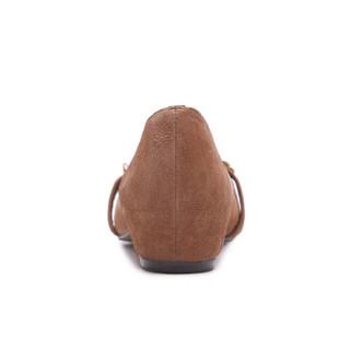 fmm 花晨月 羊猄尖头时尚细链条低跟平跟浅口单鞋女 LYA18CD9020 焦糖色40