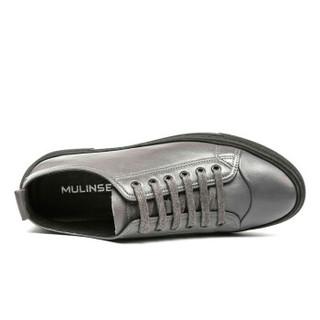 MULINSEN 木林森 男鞋时尚休闲鞋韩版纯色简约潮男板鞋青少年学生牛皮鞋子 SL87302 灰色 42