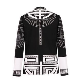 VERSACE COLLECTION 范思哲 奢侈品 男士黑配白色棉质圆领几何图案长袖T恤衫 V800491R VJ00521 V7008 XL码