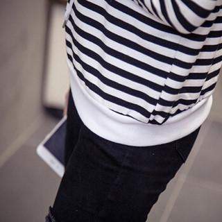 JOY OF JOY 2019年春装新款韩版连帽条纹上衣时尚女装长袖薄款卫衣打底衫 JWWY187256 白色 M