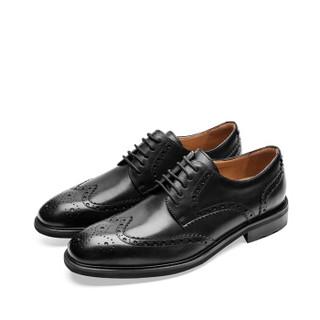 莱尔斯丹 le saunda 正装鞋 商务男士布洛克英伦百搭 LS 9TM48201 黑色 39