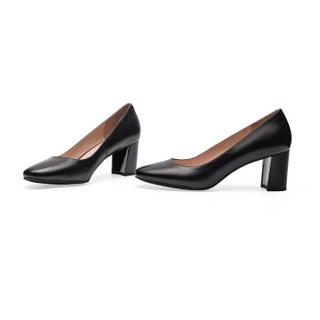 le saunda 莱尔斯丹 高跟鞋 圆头优雅通勤浅口粗跟 LS 9M76201 黑色 35