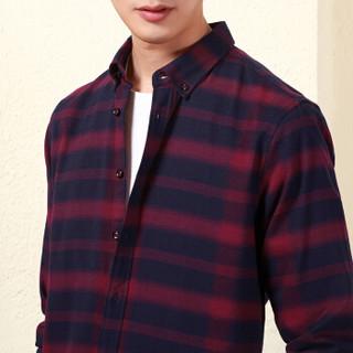 红豆 Hodo男装 都市休闲系列 长袖衬衫男 休闲提花扣领长袖衬衫 R1暗红 170/88A