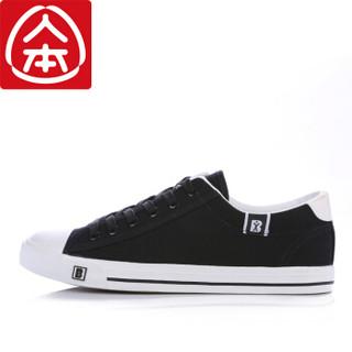 人本 帆布韩版平底休闲潮男鞋 黑色  rb99612019 男款41