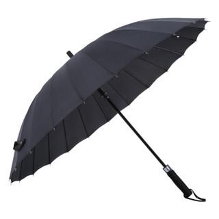 美度(MAYDU)京东自营24骨半自动男士商务晴雨伞加大长柄防风雨伞 M7003黑色