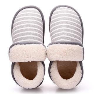 INTERIGHT北欧长毛绒系列 舒适保暖包根棉拖鞋女款 浅灰39-40 IN1830
