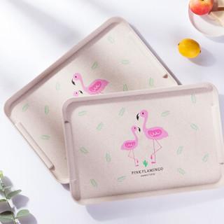 爱思得(Arsto)麦纤维托盘长方形 创意茶具水杯茶盘餐盘水果盘子加大号麦色
