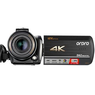 欧达(ORDRO)AC5高清数码4K摄像机DV专业摄录一体机12倍光学变焦1200倍动态变焦增强5轴防抖家用直播婚庆