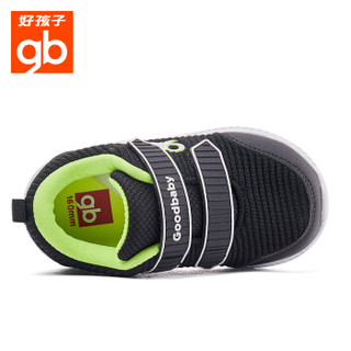 好孩子(gb)儿童运动鞋童鞋休闲鞋秋季新款针织防滑机能鞋18FWLT024黑色26.5码/鞋内长170